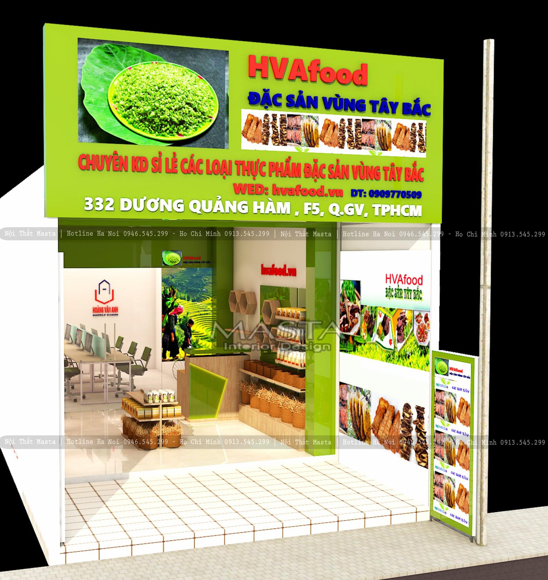 Thiết kế mặt tiền cửa hàng thực phẩm HVAfood