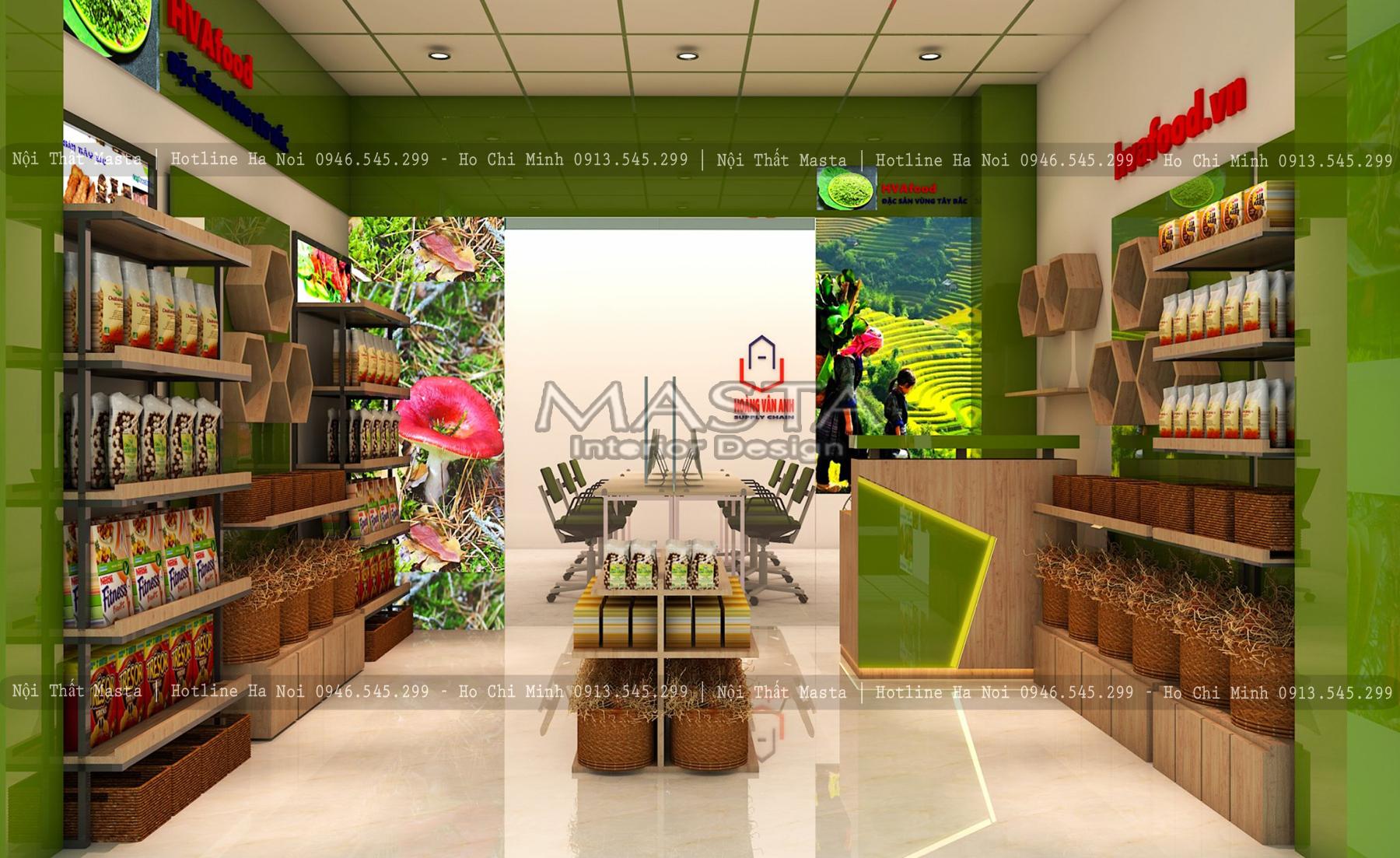 Thiết kế nội thất cửa hàng thực phẩm HVAfood