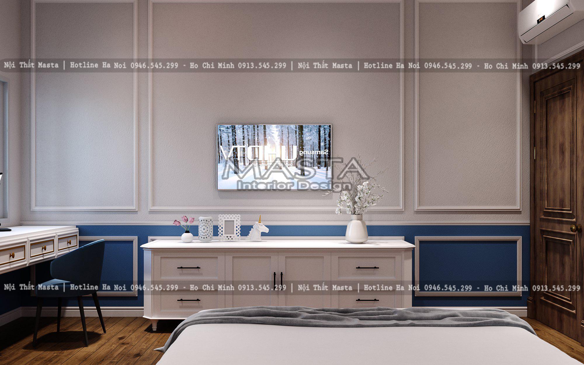 Phòng khách được thiết kế với màu sắc hài hòa