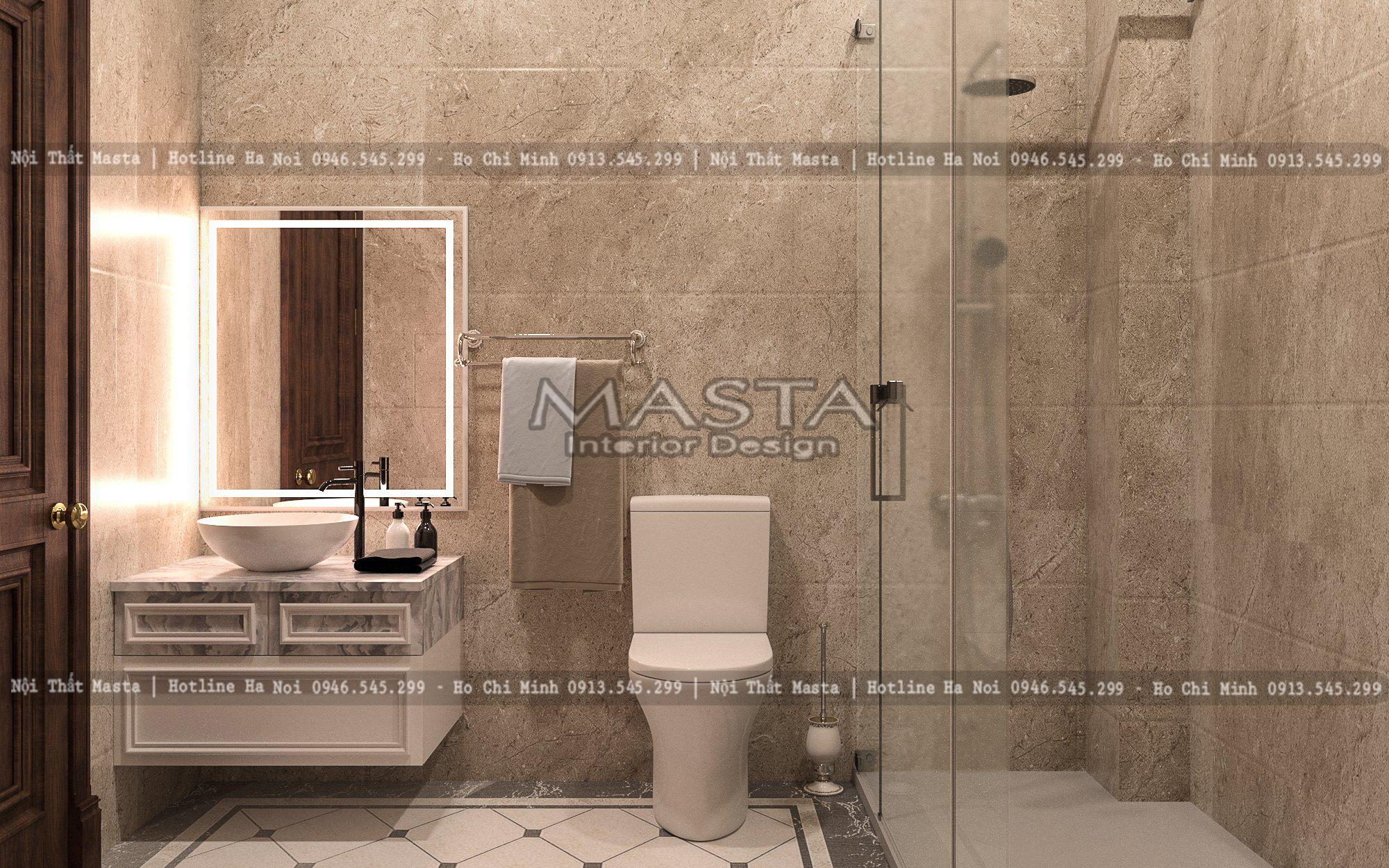 Phòng tắm nhỏ nhắn nhưng được xử lý không gian khéo léo