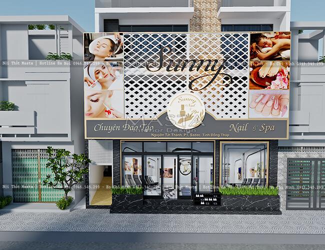 Mặt tiền sang trọng trong thiết kế tiệm nail spa Sunny - Đồng Tháp