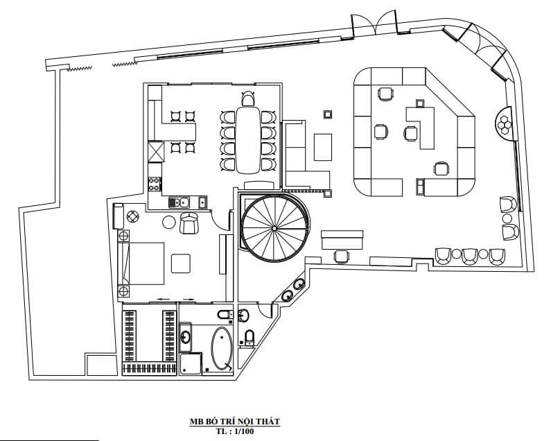 Mặt bằng bố trí không gian căn hộ của anh Hòa