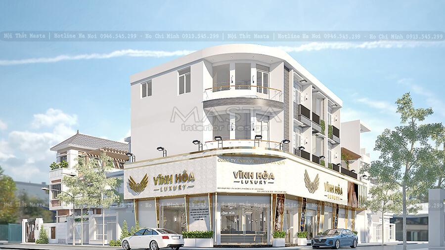 Thiết kế mặt tiền tiệm vàng Vĩnh Hòa