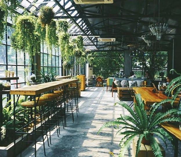 Mẫu thiết kế quán trà sữa sân vườn