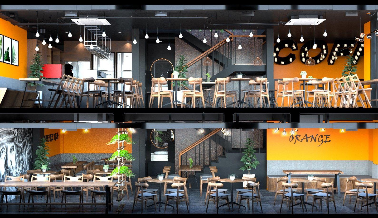 Mẫu thiết kế quán trà sữa 2 tầng